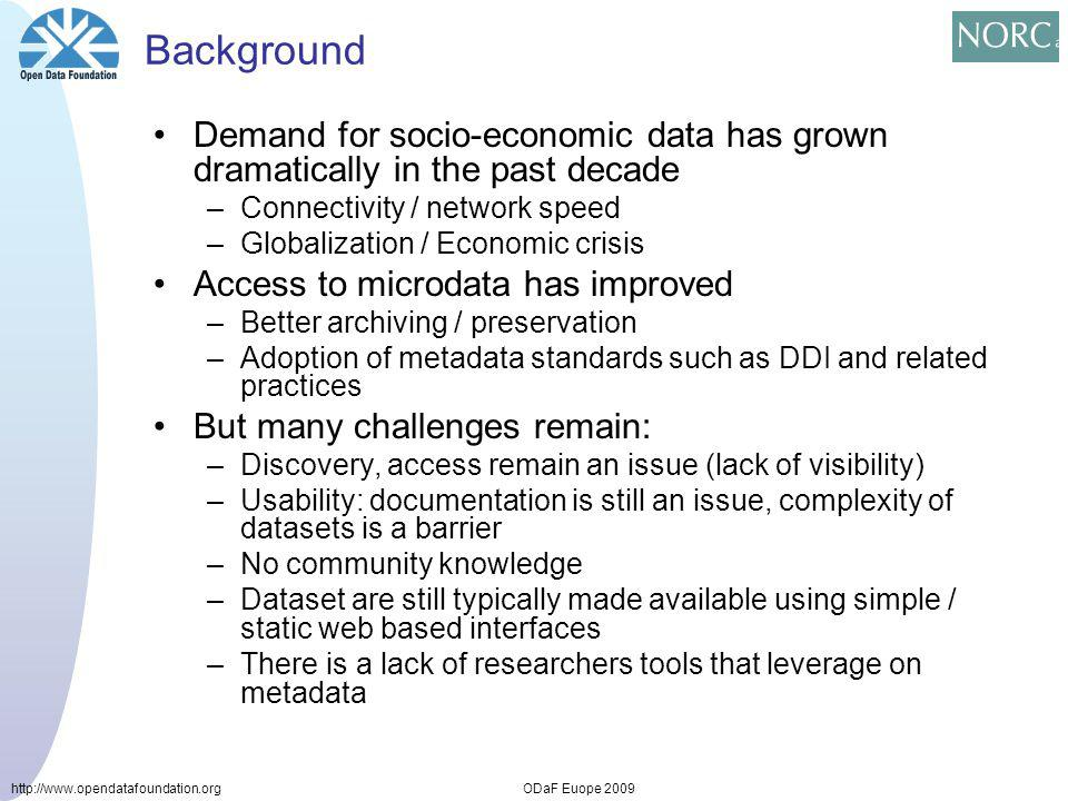 http://www.opendatafoundation.orgODaF Euope 2009 Background Demand for socio-economic data has grown dramatically in the past decade –Connectivity / network speed –Globalization / Economic crisis Access to microdata has improved –Better archiving / preservation –Adoption of metadata standards such as DDI and related practices But many challenges remain: –Discovery, access remain an issue (lack of visibility) –Usability: documentation is still an issue, complexity of datasets is a barrier –No community knowledge –Dataset are still typically made available using simple / static web based interfaces –There is a lack of researchers tools that leverage on metadata