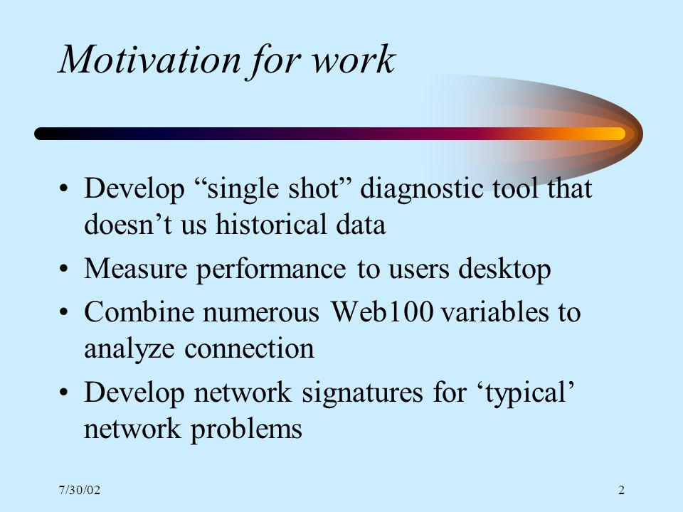 7/30/022 Motivation for work Develop single shot diagnostic tool that doesnt us historical data Measure performance to users desktop Combine numerous