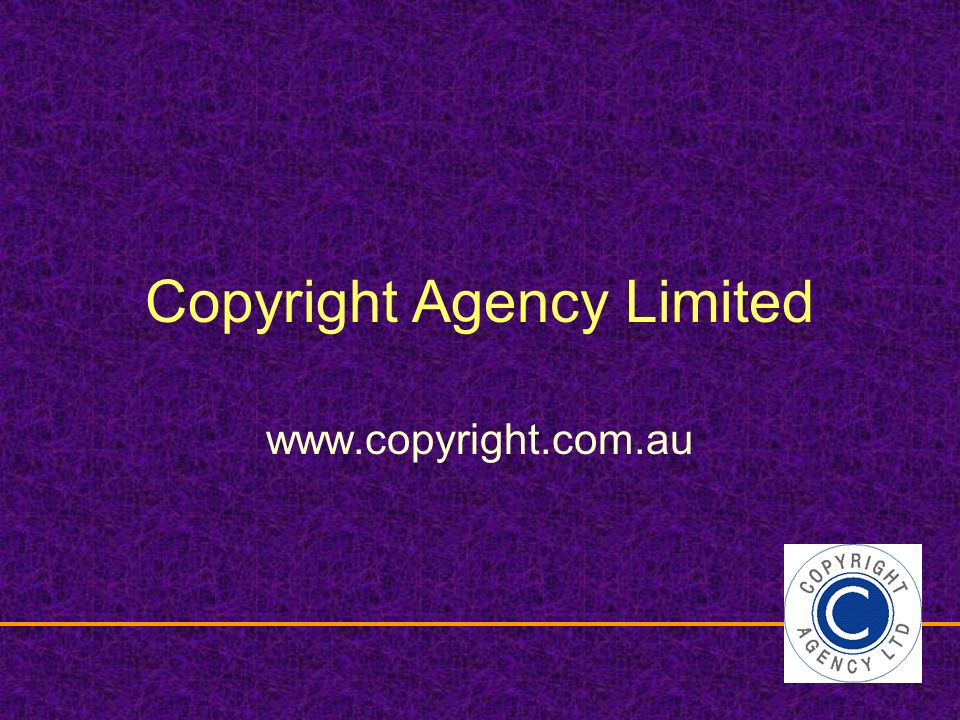 Copyright Agency Limited www.copyright.com.au