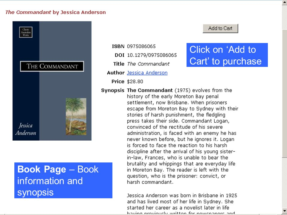 Click on Add to Cart to purchase Book Page – Book information and synopsis