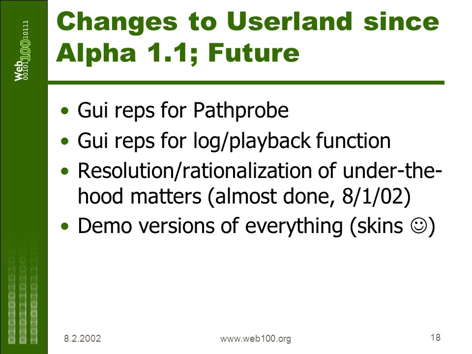 www.web100.org 18 Changes to Userland since Alpha 1.1; Future Gui reps for Pathprobe Gui reps for log/playback function Resolution/rationalization of under-the- hood matters (almost done, 8/1/02) Demo versions of everything (skins )