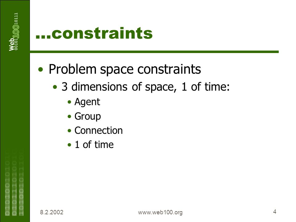www.web100.org 4 …constraints Problem space constraints 3 dimensions of space, 1 of time: Agent Group Connection 1 of time
