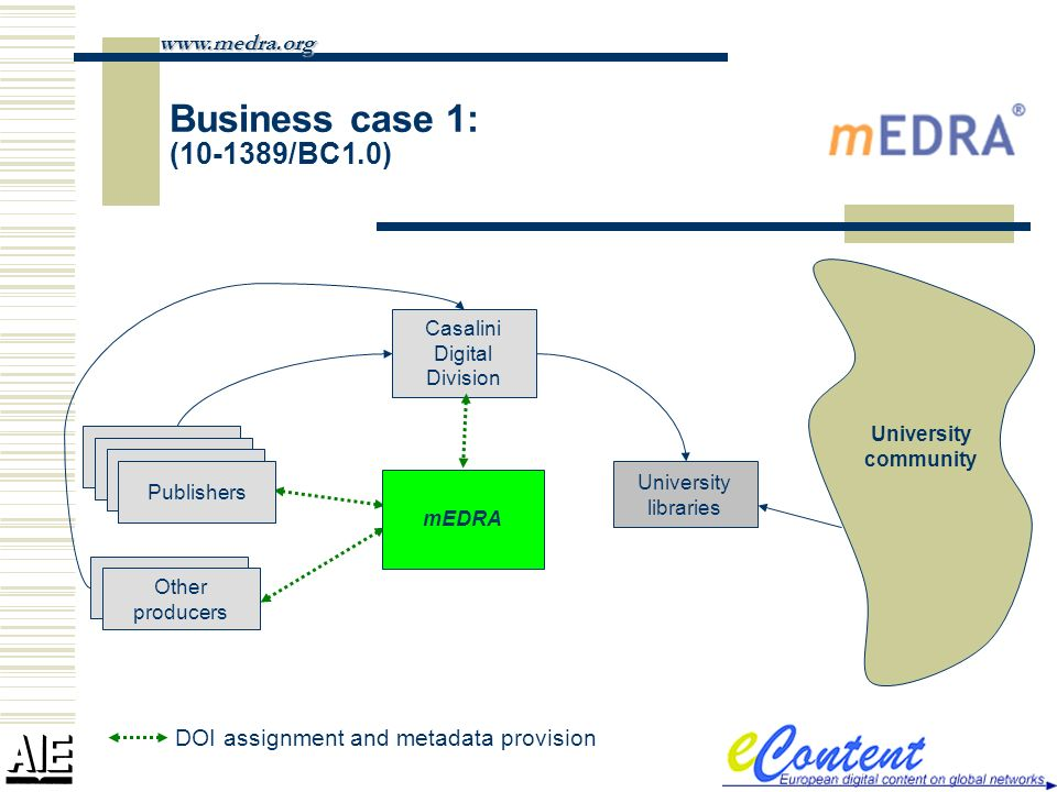 Business case 1: ( /BC1.0)   University community University libraries mEDRA Casalini Digital Division DOI assignment and metadata provision Publishers Other producers