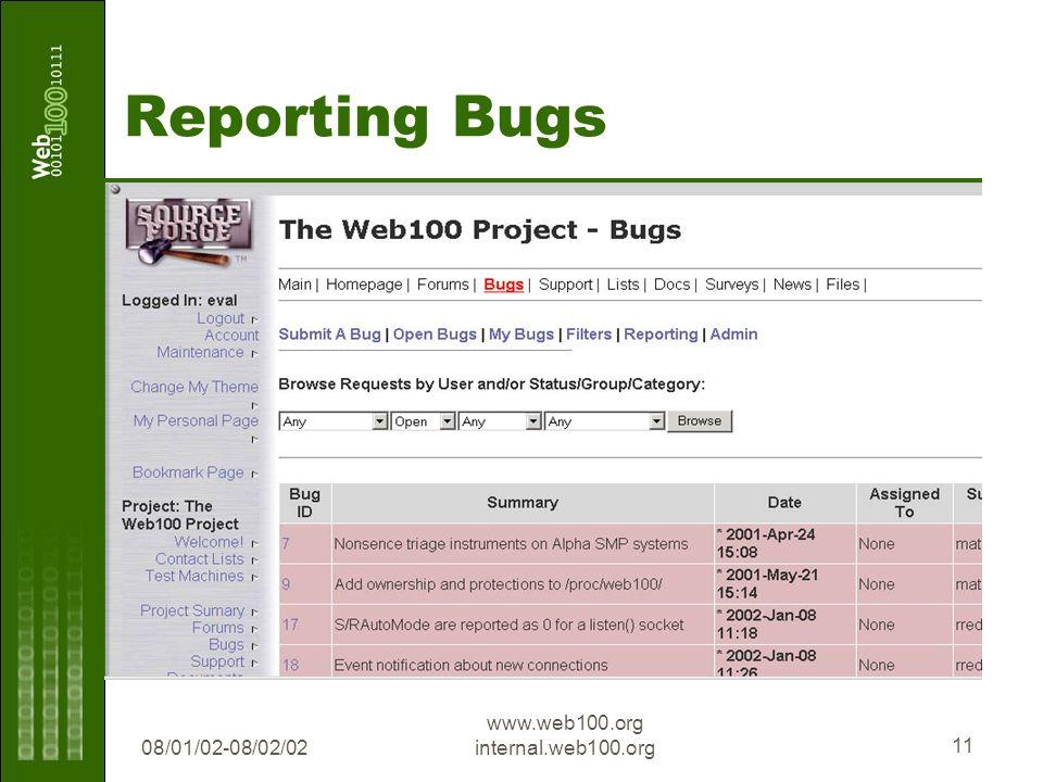 08/01/02-08/02/02 www.web100.org internal.web100.org 11 Reporting Bugs