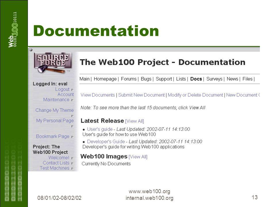 08/01/02-08/02/02 www.web100.org internal.web100.org 13 Documentation