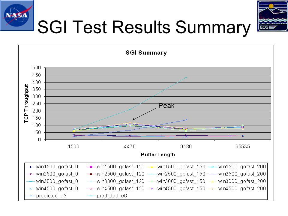 SGI Test Results Summary Peak