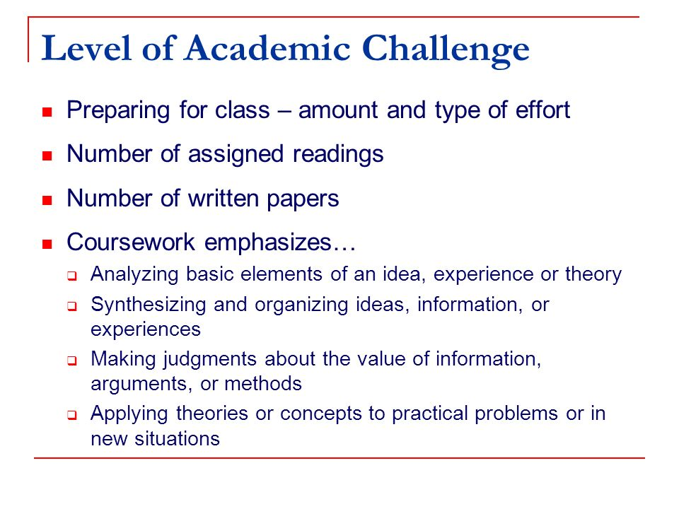 Level of Academic Challenge Preparing for class – amount and type of effort Number of assigned readings Number of written papers Coursework emphasizes… Analyzing basic elements of an idea, experience or theory Synthesizing and organizing ideas, information, or experiences Making judgments about the value of information, arguments, or methods Applying theories or concepts to practical problems or in new situations