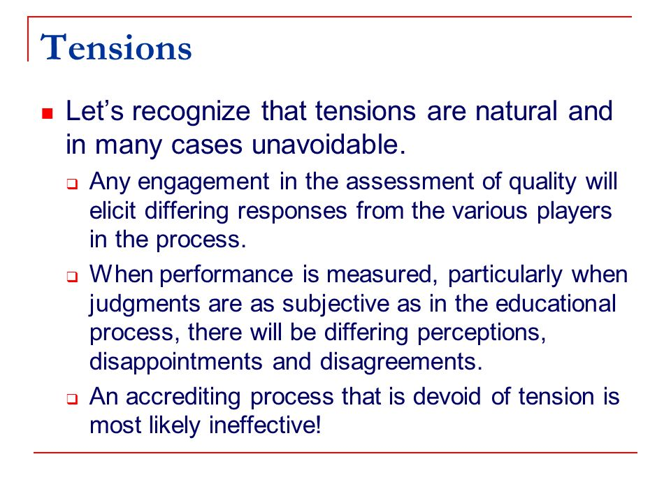 Comprehensiveness Thorough review of all programs in an institution, according to the stated mission Consideration of an institutions total mission Attention to liberal studies (general education) as well as professional studies Suggestion that regional accreditors become the specialized accreditor for general education