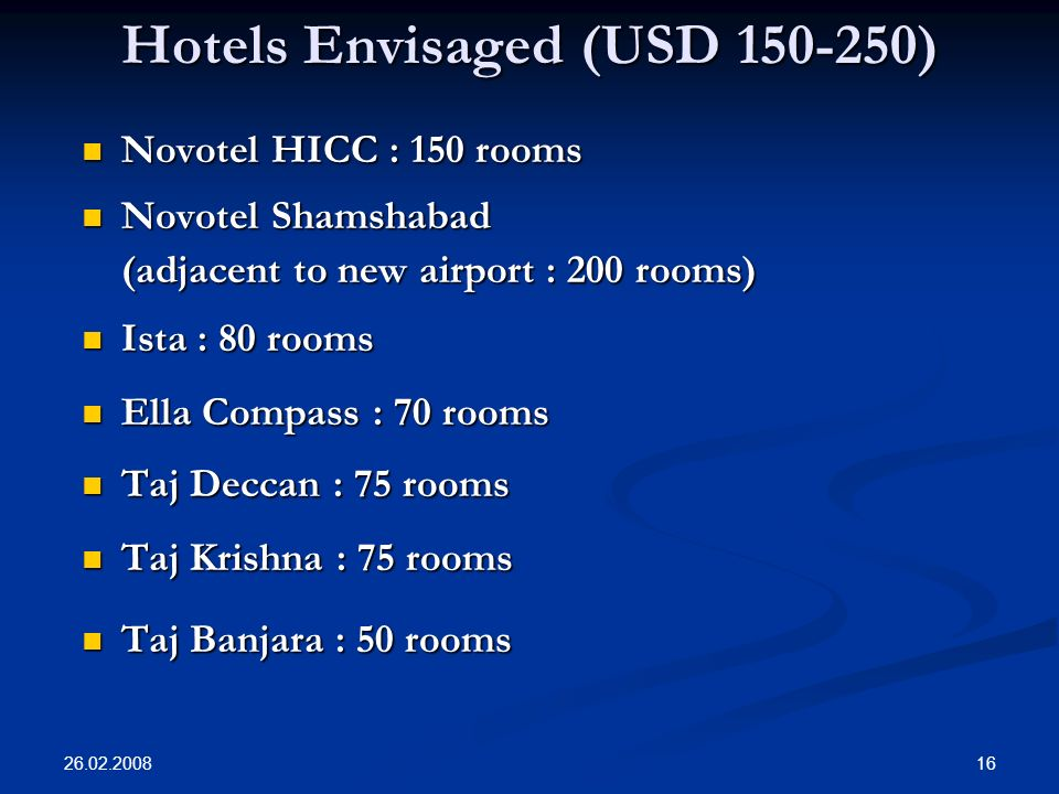 26.02.2008 16 Hotels Envisaged (USD 150-250) Novotel HICC : 150 rooms Novotel HICC : 150 rooms Novotel Shamshabad Novotel Shamshabad (adjacent to new airport : 200 rooms) Ista : 80 rooms Ista : 80 rooms Ella Compass : 70 rooms Ella Compass : 70 rooms Taj Deccan : 75 rooms Taj Deccan : 75 rooms Taj Krishna : 75 rooms Taj Krishna : 75 rooms Taj Banjara : 50 rooms Taj Banjara : 50 rooms