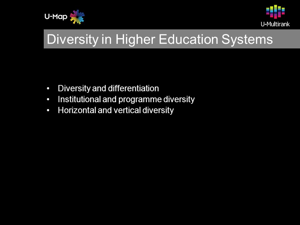Diversity in Higher Education Systems Diversity and differentiation Institutional and programme diversity Horizontal and vertical diversity