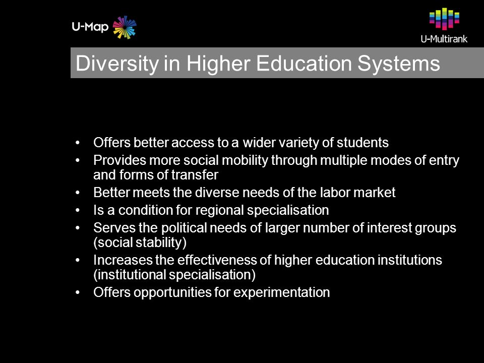 Design Principles U-Map is: based on empirical data based on a multi-actor and multi-dimensional perspective non-hierarchical relevant for all higher education institutions in Europe descriptive, not prescriptive based on reliable and verifiable data parsimonious regarding extra data collection