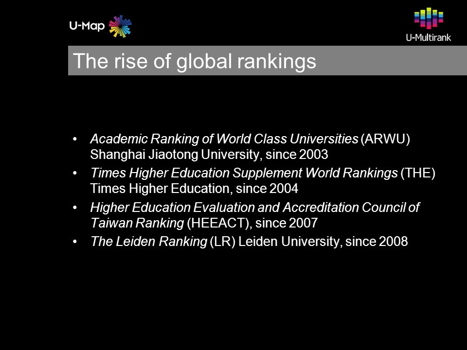 U-Multirank CHERPA-Network (2009) U-Multirank Interim Progress Report I, Design Phase of the Project Design and Testing the Feasibility of a Multi-dimensional Global University Ranking CHERPA-Network (2010) U-Multirank Interim Report II, Selection of instruments and institutions Publications