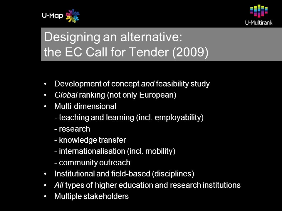 Designing an alternative: the EC Call for Tender (2009) Development of concept and feasibility study Global ranking (not only European) Multi-dimensional - teaching and learning (incl.