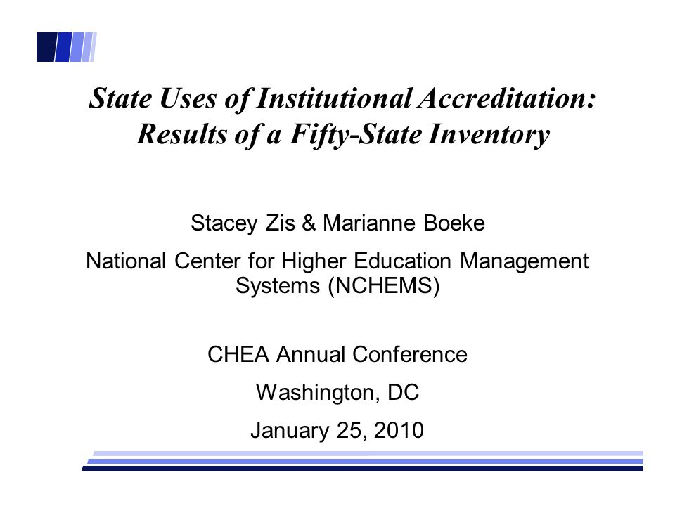 State Uses of Institutional Accreditation: Results of a Fifty-State Inventory Stacey Zis & Marianne Boeke National Center for Higher Education Managem