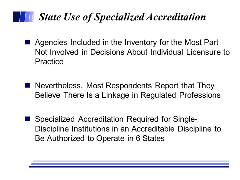 State Use of Specialized Accreditation Agencies Included in the Inventory for the Most Part Not Involved in Decisions About Individual Licensure to Pr