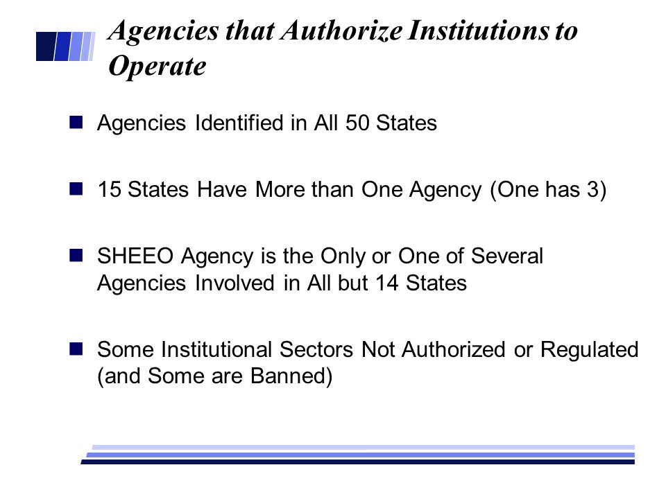 Agencies that Authorize Institutions to Operate Agencies Identified in All 50 States 15 States Have More than One Agency (One has 3) SHEEO Agency is t