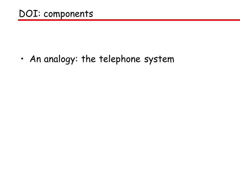 DOI: components An analogy: the telephone system