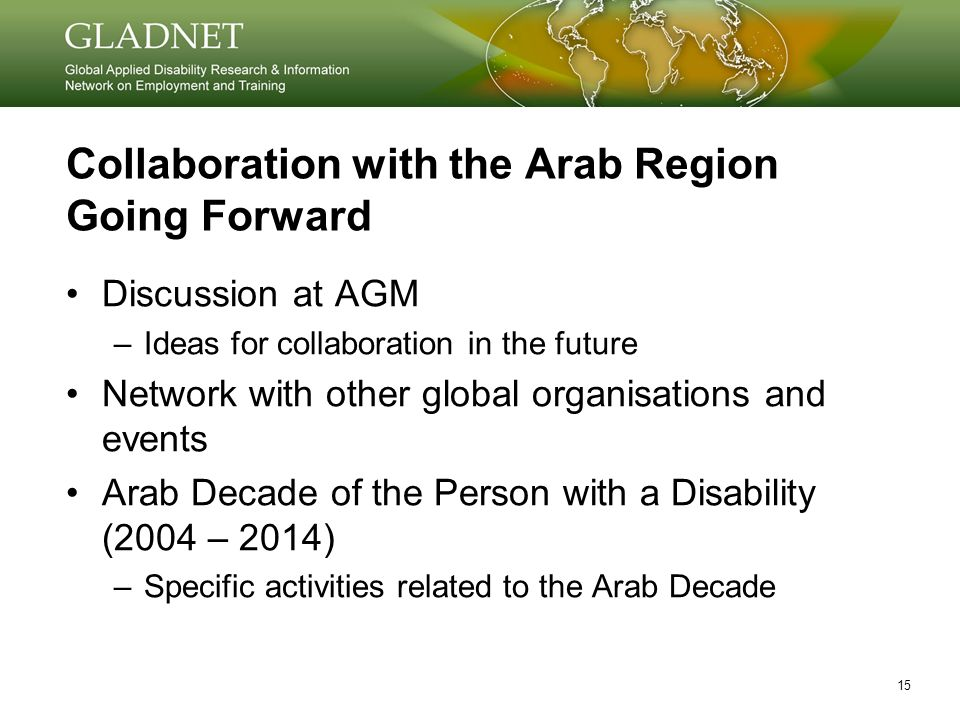 15 Collaboration with the Arab Region Going Forward Discussion at AGM –Ideas for collaboration in the future Network with other global organisations and events Arab Decade of the Person with a Disability (2004 – 2014) –Specific activities related to the Arab Decade