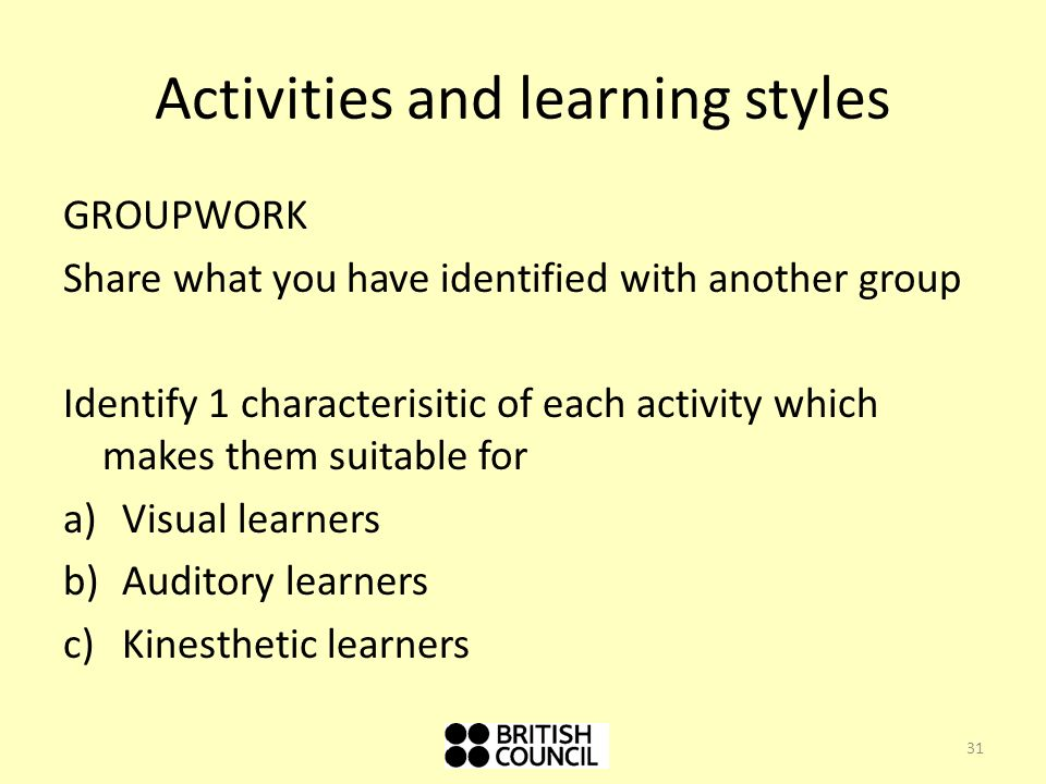 Activities and learning styles GROUPWORK Share what you have identified with another group Identify 1 characterisitic of each activity which makes them suitable for a)Visual learners b)Auditory learners c)Kinesthetic learners 31