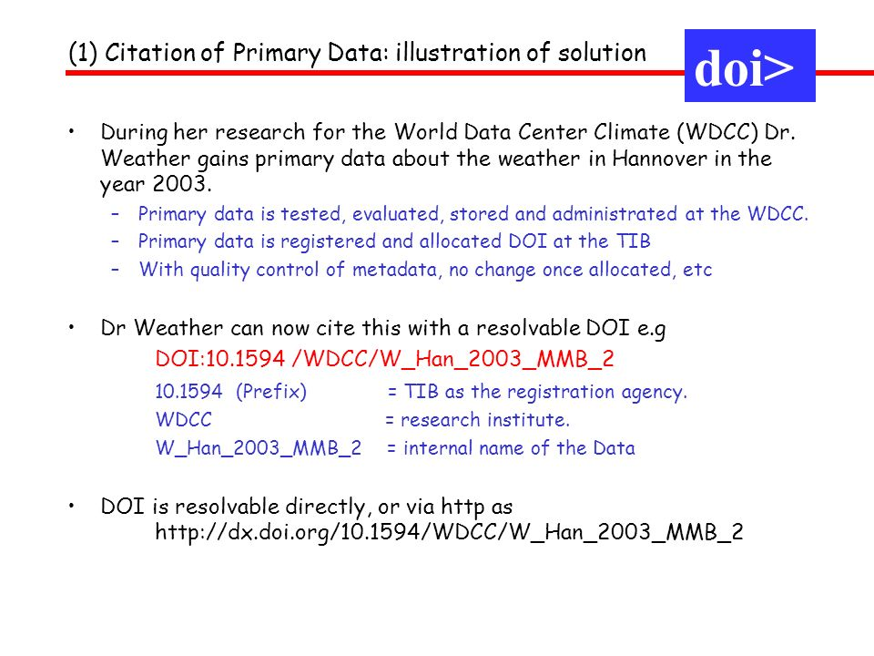 doi> (1) Citation of Primary Data: illustration of solution During her research for the World Data Center Climate (WDCC) Dr.
