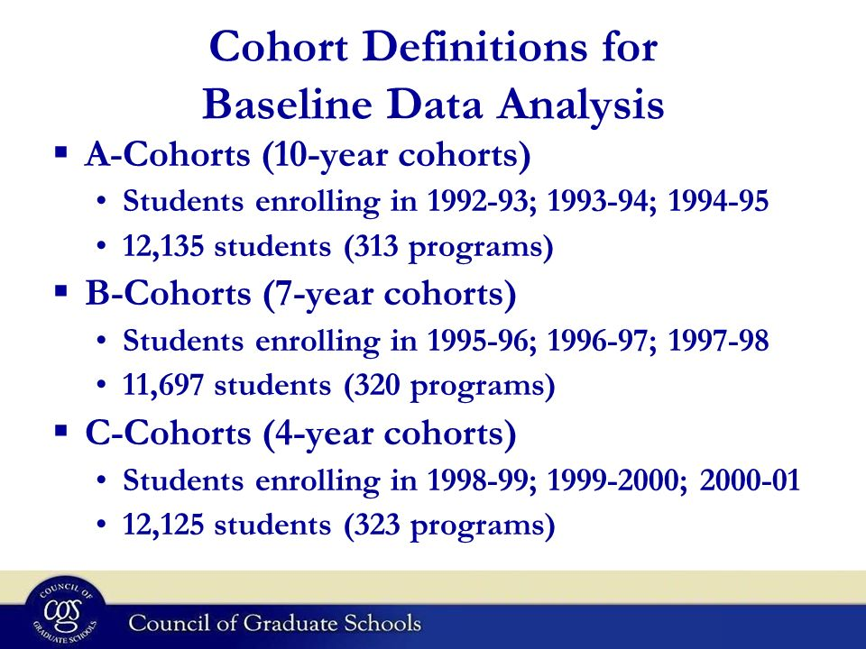 Cohort Definitions for Baseline Data Analysis A-Cohorts (10-year cohorts) Students enrolling in 1992-93; 1993-94; 1994-95 12,135 students (313 program