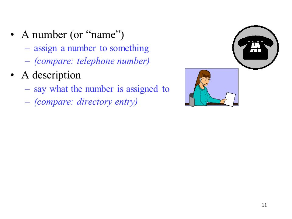 11 A number (or name) –assign a number to something –(compare: telephone number) A description –say what the number is assigned to –(compare: directory entry)