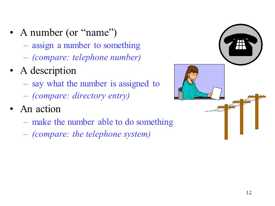 12 A number (or name) –assign a number to something –(compare: telephone number) A description –say what the number is assigned to –(compare: directory entry) An action –make the number able to do something –(compare: the telephone system)