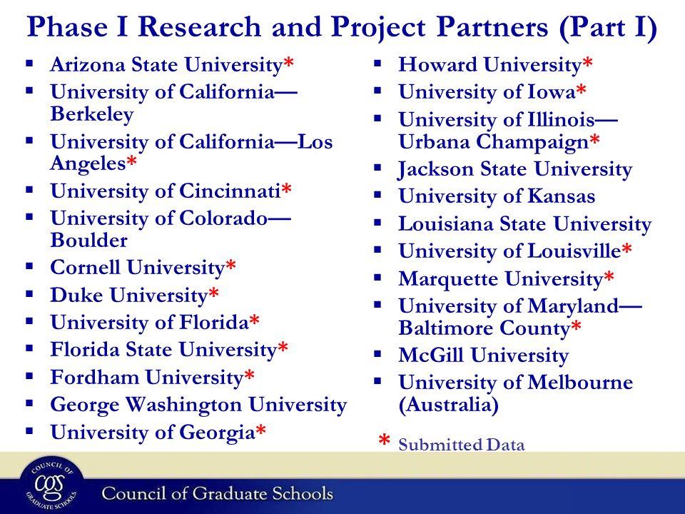 Phase I Research and Project Partners (Part I) Arizona State University* University of California Berkeley University of CaliforniaLos Angeles* Univer