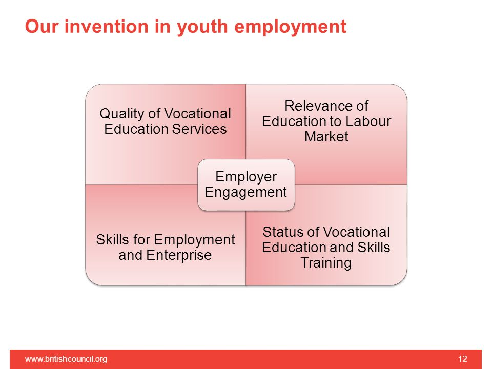 Our invention in youth employment www.britishcouncil.org12 Quality of Vocational Education Services Relevance of Education to Labour Market Skills for Employment and Enterprise Status of Vocational Education and Skills Training Employer Engagement