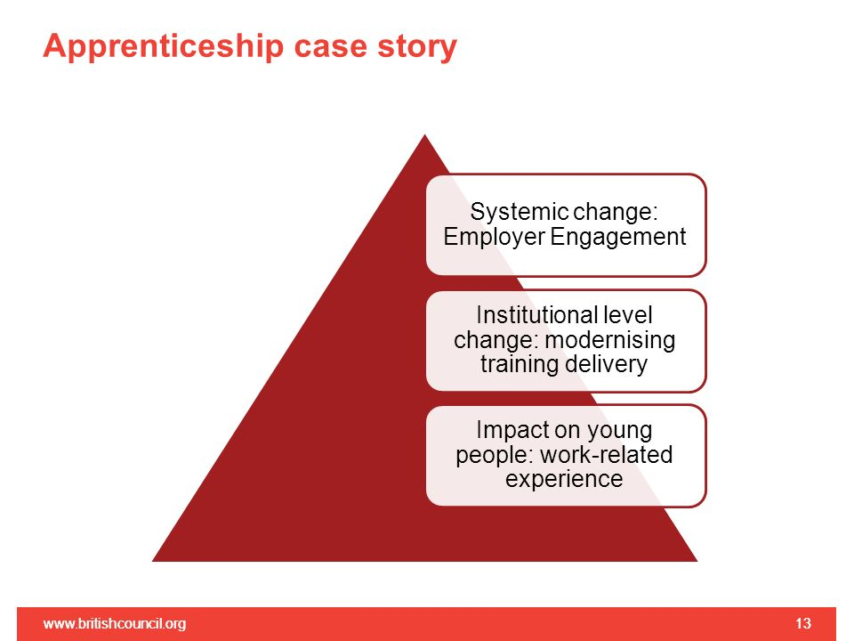 Apprenticeship case story www.britishcouncil.org13www.britishcouncil.org13 Systemic change: Employer Engagement Institutional level change: modernising training delivery Impact on young people: work-related experience