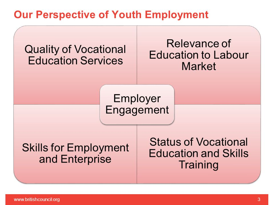 Our Perspective of Youth Employment   Quality of Vocational Education Services Relevance of Education to Labour Market Skills for Employment and Enterprise Status of Vocational Education and Skills Training Employer Engagement
