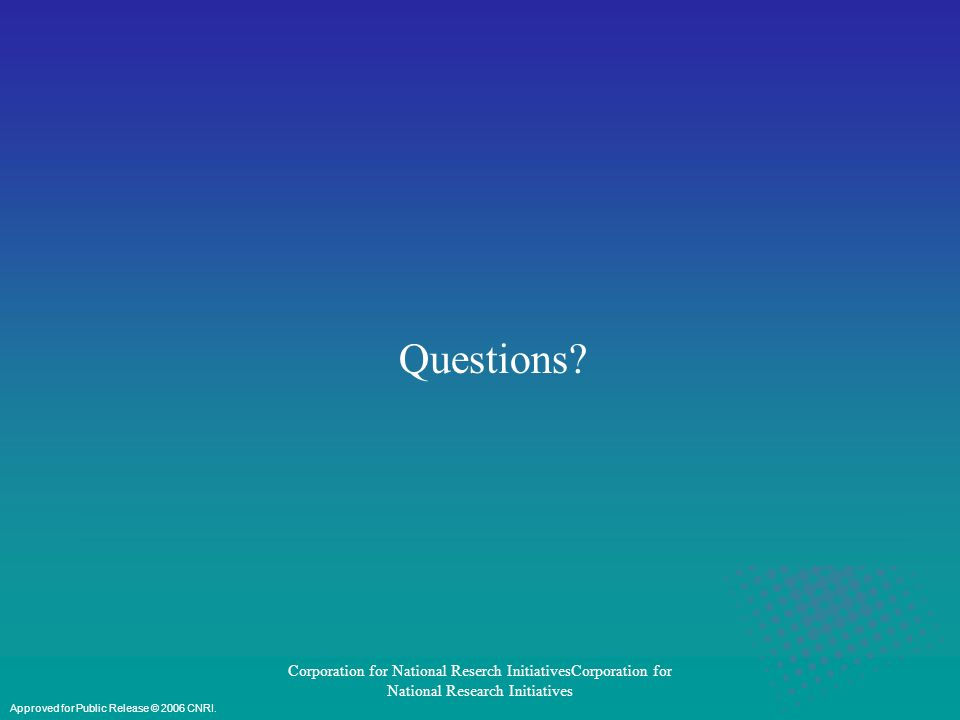 Corporation for National Reserch InitiativesCorporation for National Research Initiatives Questions.