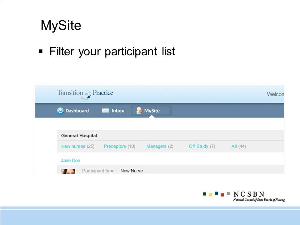 MySite Filter your participant list