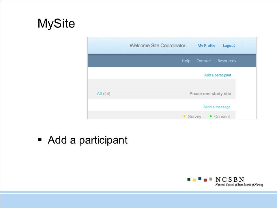 MySite Add a participant