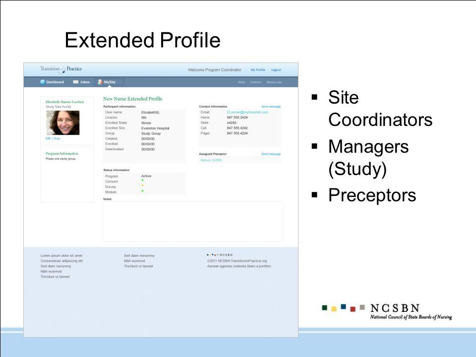 Extended Profile Site Coordinators Managers (Study) Preceptors