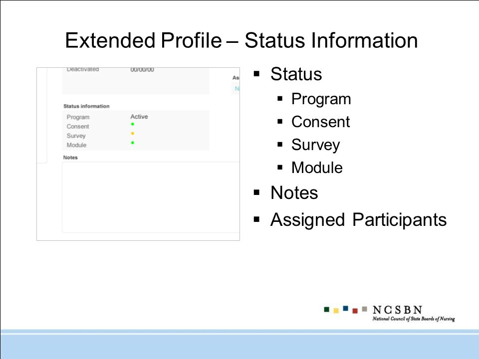 Extended Profile – Status Information Status Program Consent Survey Module Notes Assigned Participants