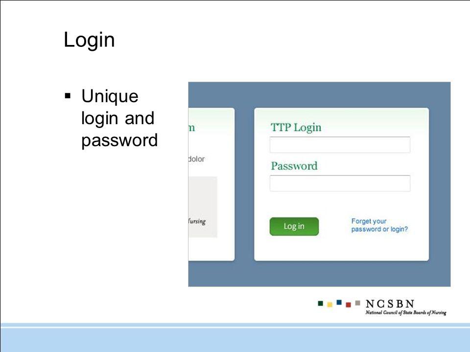 Login Unique login and password