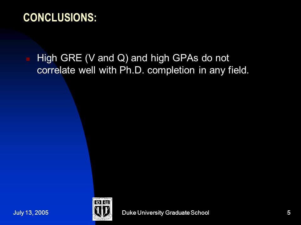July 13, 2005Duke University Graduate School5 CONCLUSIONS: High GRE (V and Q) and high GPAs do not correlate well with Ph.D.