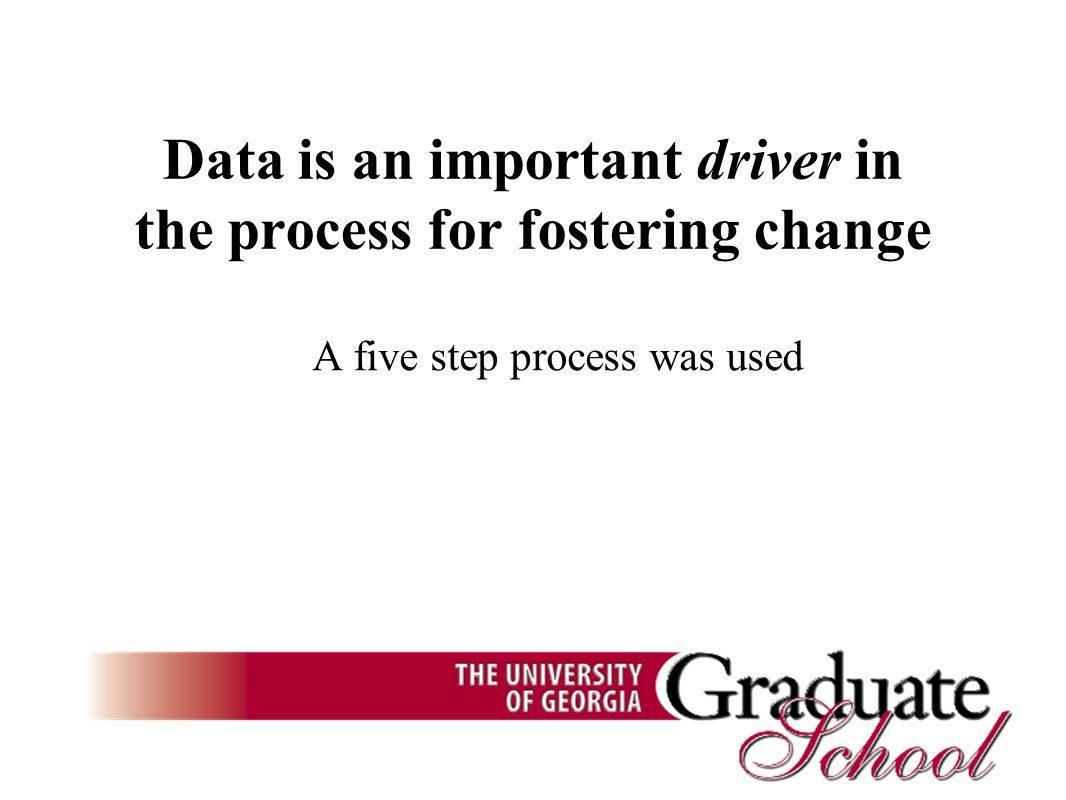 Data is an important driver in the process for fostering change A five step process was used