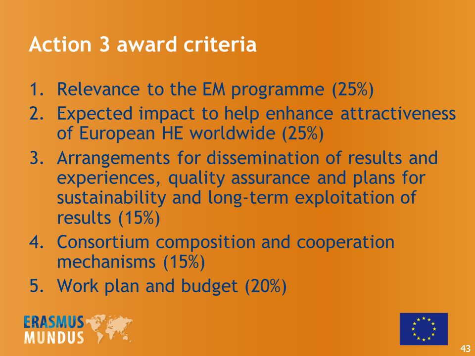 Action 3 award criteria 1.Relevance to the EM programme (25%) 2.Expected impact to help enhance attractiveness of European HE worldwide (25%) 3.Arrangements for dissemination of results and experiences, quality assurance and plans for sustainability and long-term exploitation of results (15%) 4.Consortium composition and cooperation mechanisms (15%) 5.Work plan and budget (20%) 43