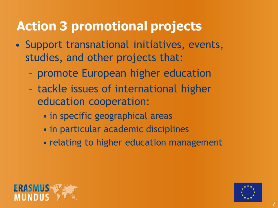 Action 3 promotional projects Support transnational initiatives, events, studies, and other projects that: –promote European higher education –tackle issues of international higher education cooperation: in specific geographical areas in particular academic disciplines relating to higher education management 7
