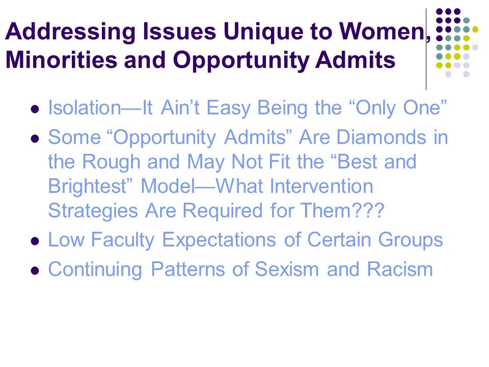 Addressing Issues Unique to Women, Minorities and Opportunity Admits IsolationIt Aint Easy Being the Only One Some Opportunity Admits Are Diamonds in the Rough and May Not Fit the Best and Brightest ModelWhat Intervention Strategies Are Required for Them .