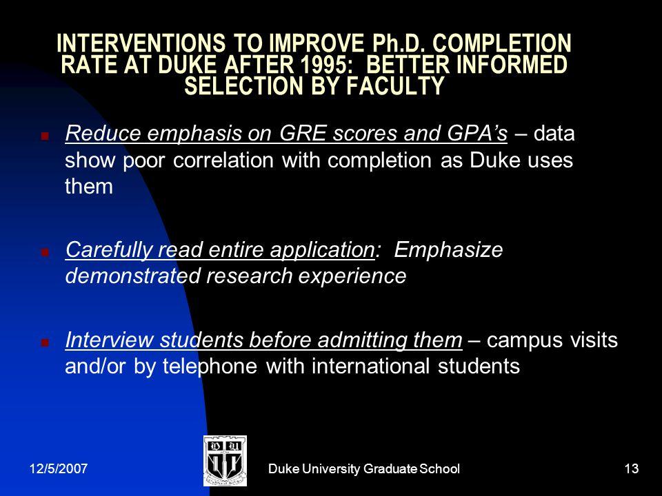 12/5/2007Duke University Graduate School13 INTERVENTIONS TO IMPROVE Ph.D.