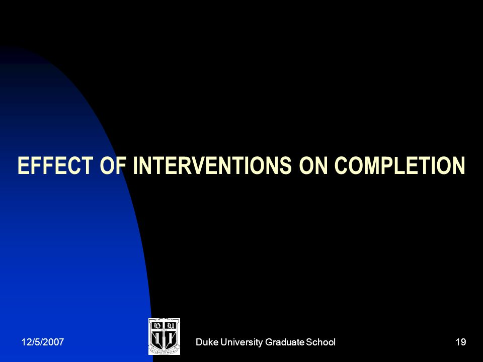 12/5/2007Duke University Graduate School19 EFFECT OF INTERVENTIONS ON COMPLETION