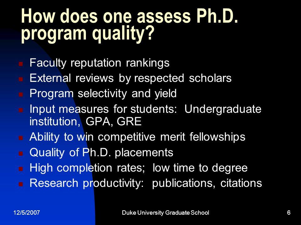 12/5/2007Duke University Graduate School6 How does one assess Ph.D.