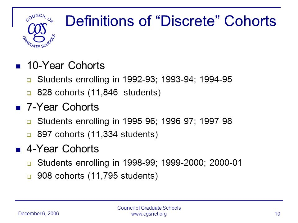 December 6, 2006 Council of Graduate Schools   10 Definitions of Discrete Cohorts 10-Year Cohorts Students enrolling in ; ; cohorts (11,846 students) 7-Year Cohorts Students enrolling in ; ; cohorts (11,334 students) 4-Year Cohorts Students enrolling in ; ; cohorts (11,795 students)