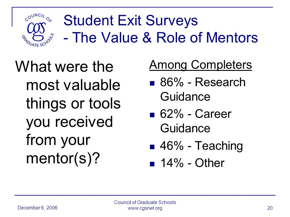 December 6, 2006 Council of Graduate Schools www.cgsnet.org 20 Student Exit Surveys - The Value & Role of Mentors What were the most valuable things or tools you received from your mentor(s).