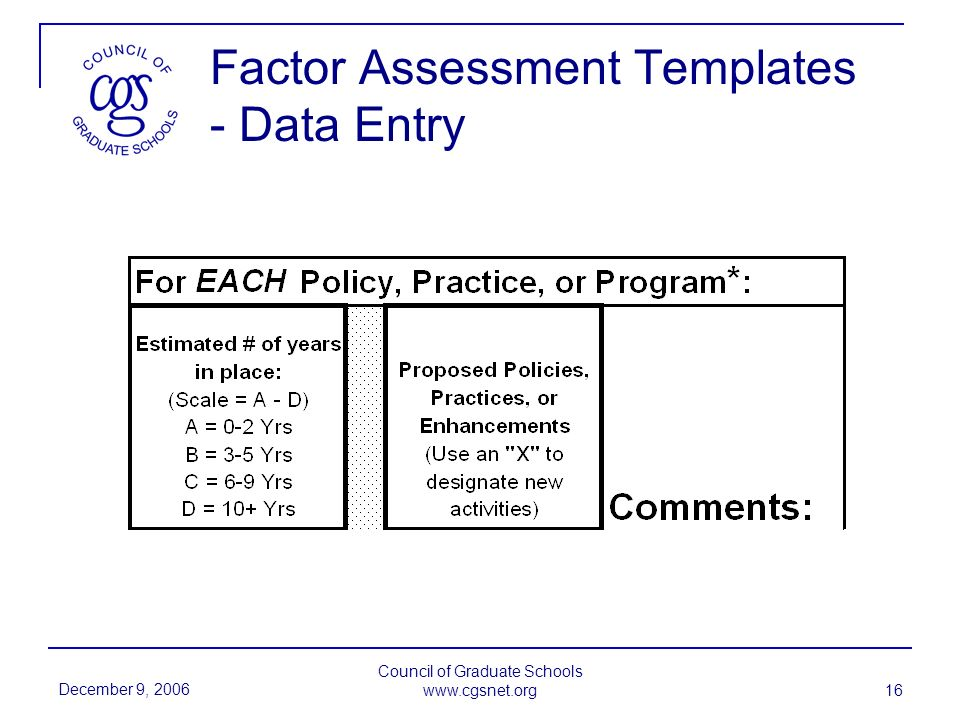December 9, 2006 Council of Graduate Schools www.cgsnet.org 16 Factor Assessment Templates - Data Entry
