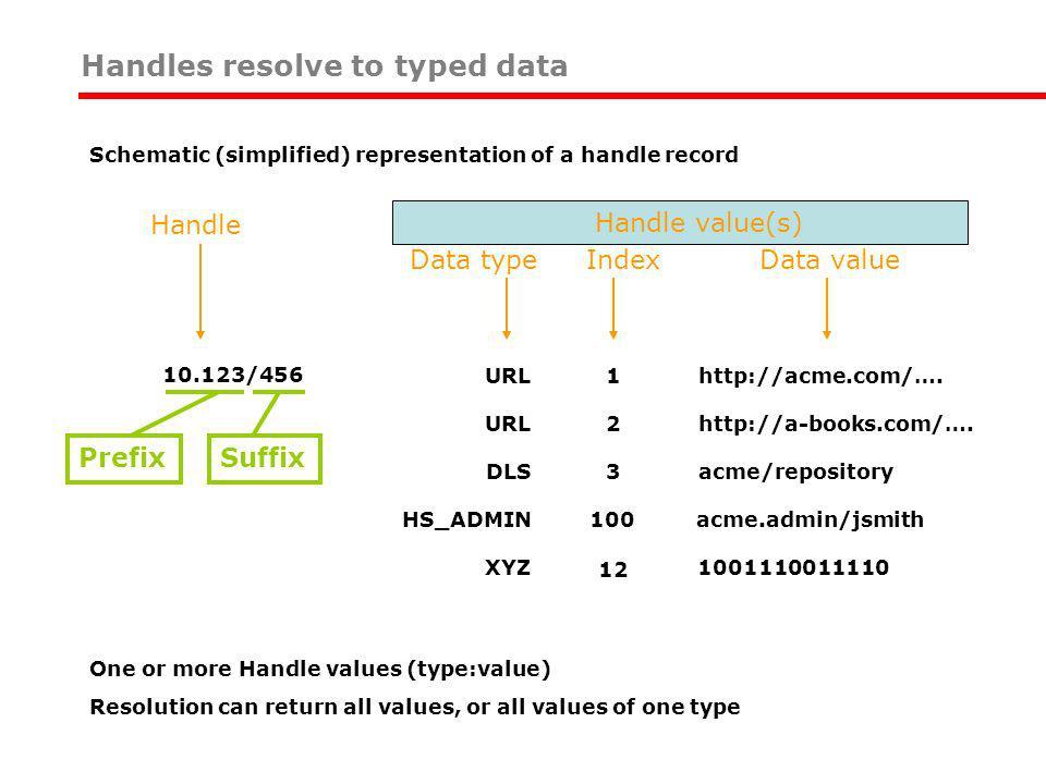 URL2http://a-books.com/…. DLS3acme/repository HS_ADMIN100acme.admin/jsmith XYZ 1001110011110 12 Data value Handle Data type Index 10.123/456URL1http:/
