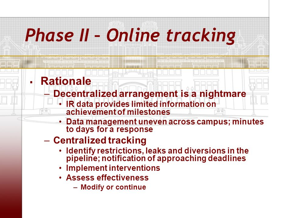 Phase II – Online tracking Rationale –Decentralized arrangement is a nightmare IR data provides limited information on achievement of milestones Data